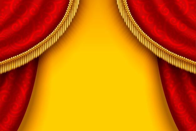 Cortina vermelha do palco com borlas em fundo amarelo