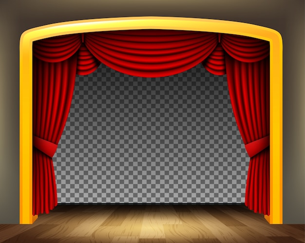 Cortina vermelha do teatro clássico