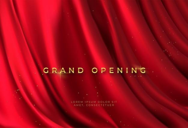 Cortina vermelha e letras douradas - grande inauguração