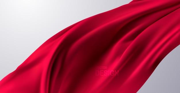 Cortina vermelha enrugada realista ou bandeira têxtil