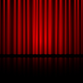 Cortina vermelha fechada do teatro