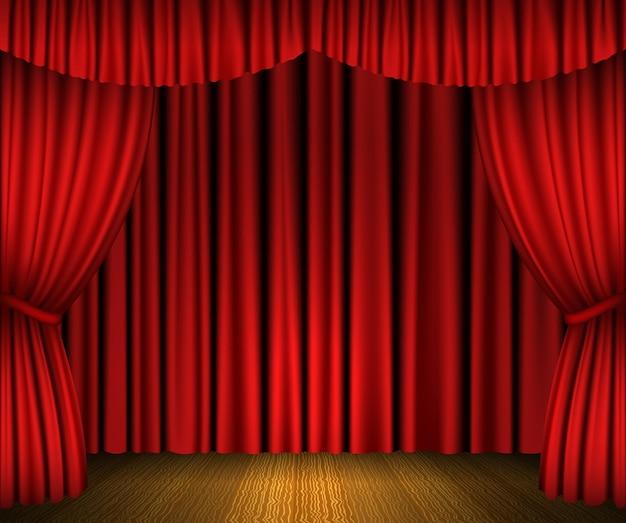 Cortinas abertas vermelhas e palco de madeira