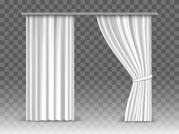 Cortinas brancas isoladas em fundo transparente. cortinas de maquete realista pendurado na haste de metal