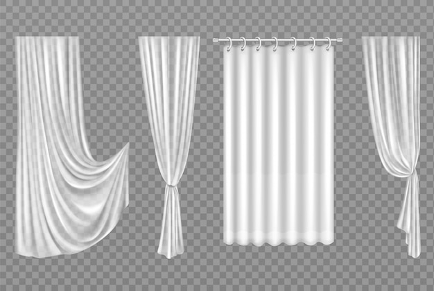 Cortinas brancas isoladas em transparente