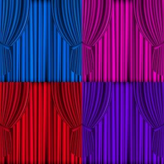 Cortinas coloridas de malha vetorial para o palco do teatro