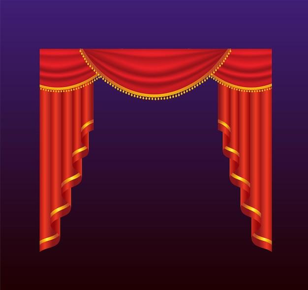 Cortinas - cortinas vermelhas de vetor realista. fundo gradiente. clip-art de alta qualidade para apresentações, banners e folhetos, retratando ilustrações de cinema, concertos e prêmios.