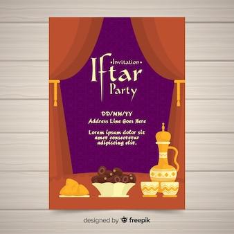 Cortinas de convite de festa plana iftar