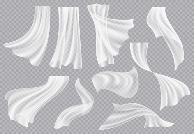 Cortinas de janela. tecido em branco esvoaçante com dobras de roupas interiores de seda macia flutuando material realista modelo de decoração