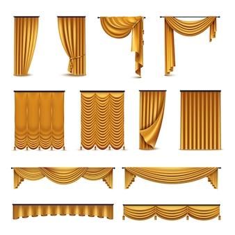 Cortinas de luxo de veludo de seda dourada
