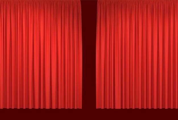 Cortinas de palco vermelho realista