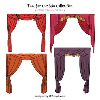 Cortinas de teatro desenhados à mão com cores diferentes