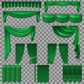 Cortinas de veludo de seda verde. fundo transparente apenas em