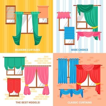Cortinas para o conceito de design de janelas