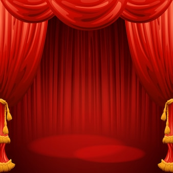 Cortinas vermelhas. cena de teatro. fundo