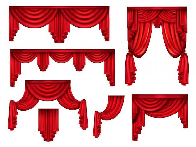 Cortinas vermelhas de palco, cortinas de seda vitoriana com rugas