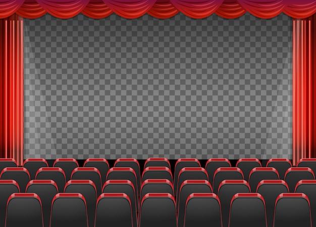 Cortinas vermelhas em teatro com fundo transparente