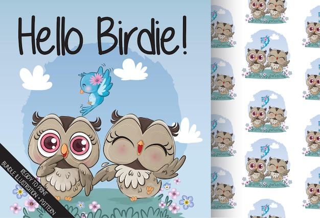 Coruja adorável com ilustração de pássaro azul ilustração de fundo