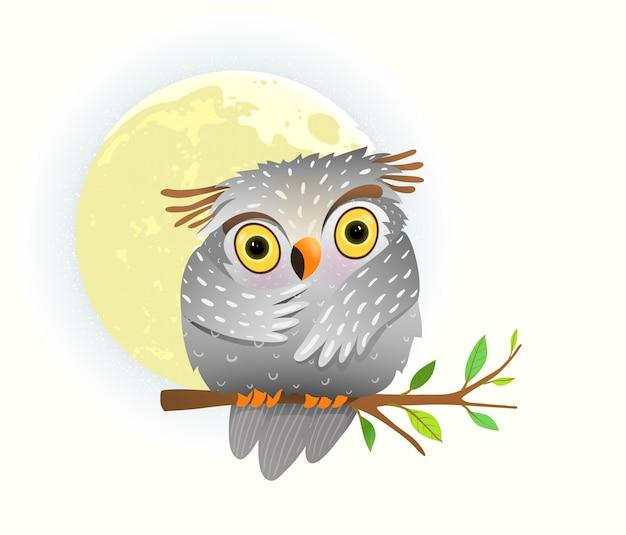 Coruja animal bebê assistindo à noite, sentado no galho de árvore com estrelas no céu e lua cheia. clipart bonito para crianças.