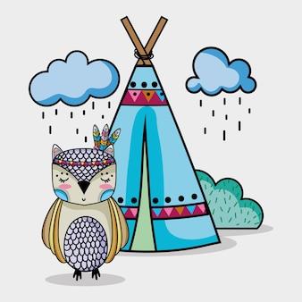 Coruja animal tribal com acampamentos e nuvens