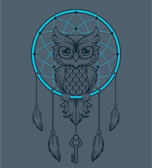 Coruja apanhadora de sonhos. ilustração