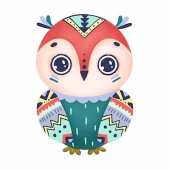 Coruja boho bonito com olhos grandes e tribais em um fundo branco