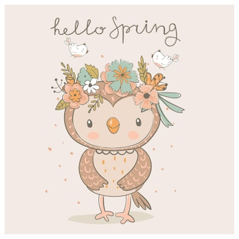 Coruja bonita da primavera com uma coroa de flores e passarinhos ilustração em vetor desenhada à mão