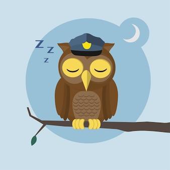 Coruja bonita dormir em um estilo de personagem plana de ramo de árvore