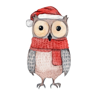 Coruja bonita ilustração aquarela no lenço vermelho de malha e chapéu de natal.