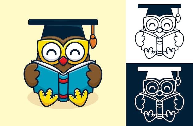 Coruja bonita sentada enquanto lê um livro. ilustração dos desenhos animados em estilo simples