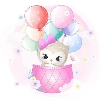Coruja bonita voando com balão de ar