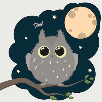 Coruja bonito dos desenhos animados com um cartaz de halloween de lua cheia.