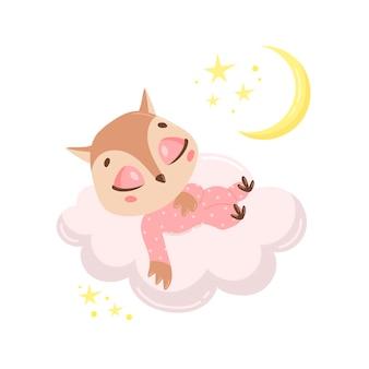 Coruja bonito dos desenhos animados dormindo numa nuvem.