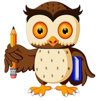 Coruja, carregando livro e lápis