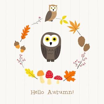 Coruja com cartão de moldura de outono
