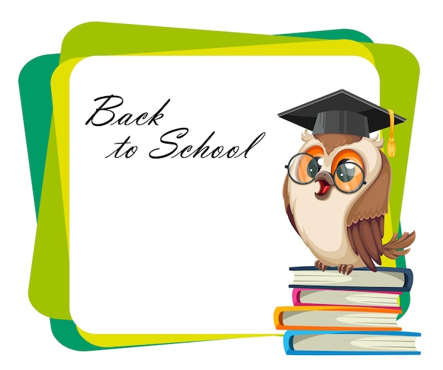 Coruja com chapéu de formatura, sentado sobre uma pilha de livros. de volta à escola. personagem de desenho animado da coruja sábia. ilustração em vetor de estoque no fundo brilhante
