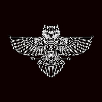 Coruja com emblema de asas abertas