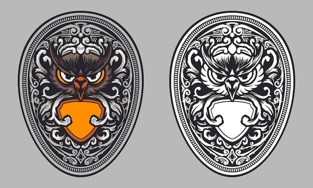 Coruja com escudo e ilustração de ornamento vintage