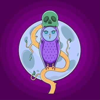 Coruja com ilustração vetorial de chapéu de crânio