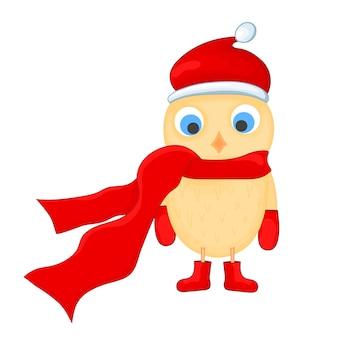 Coruja com o chapéu de papai noel, cachecol, botas e luvas. postal de ano novo e natal. pássaro de objetos isolados no fundo branco. modelo de texto e parabéns.