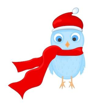 Coruja com o chapéu e lenço de papai noel. postal de ano novo e natal. pássaro de objetos isolados no fundo branco. modelo de texto e parabéns.