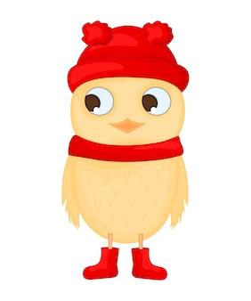 Coruja com o chapéu, o lenço e as botas do papai noel. postal de ano novo e natal. pássaro de objetos isolados no fundo branco. modelo de texto e parabéns.