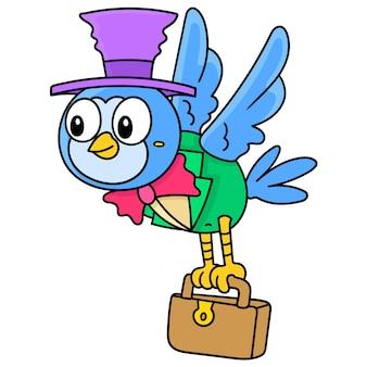 Coruja com um chapéu voador carregando uma mala para o trabalho, doodle desenhar kawaii. ilustração vetorial arte