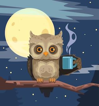 Coruja com xícara de café