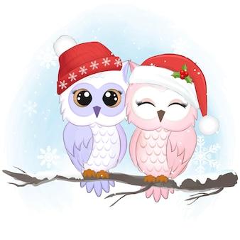 Coruja de casal fofo no inverno, ilustração da temporada de natal