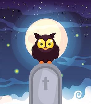 Coruja de celeiro com lua na cena do cemitério