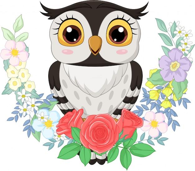 Coruja de desenhos animados com fundo de flores