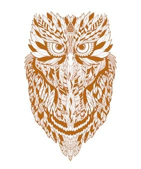 Coruja de ilustração no fundo de silhueta de floresta e estrela