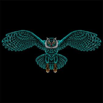 Coruja de logotipo para tatuagem ou design de camiseta ou roupa interior. fundo de coruja estilo caça.