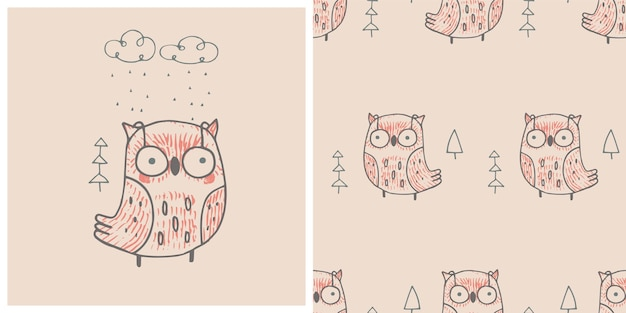 Coruja de outono imprimir com padrão sem emenda ilustração em vetor desenhada à mão