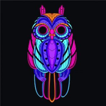 Coruja decorativa da cor de néon de brilho